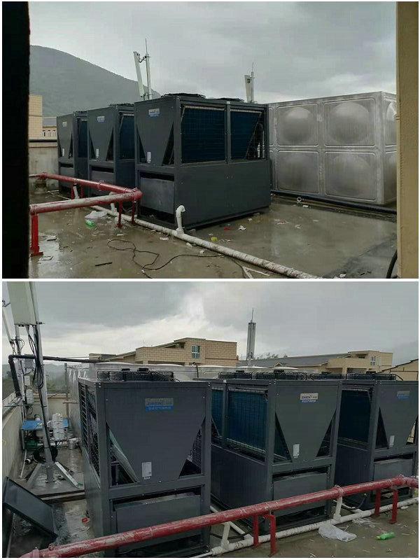 贵州道真职业高中40吨热水工程(智恩空气能热泵20匹机3台+40吨保温水箱)贵州道真职业高中40吨热水工程(智恩空气能热泵20匹机3台+40吨保温水箱)