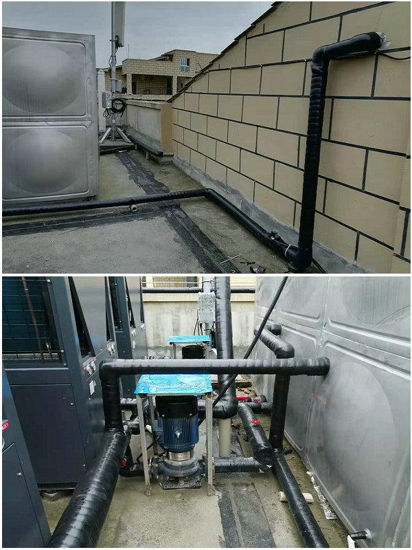 贵州道真职业高中40吨热水工程(智恩空气能热泵20匹机3台+40吨保温水箱)